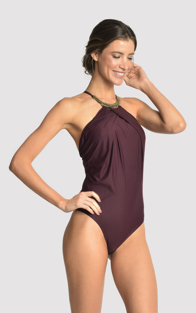 EGGPLANT EMBELLISHED HIGH NECK ONE PIECE