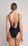 Black Embellished High Neck One Piece Swimsuit