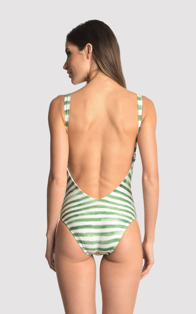 Green Stripe Ring V One Piece Swimsuit