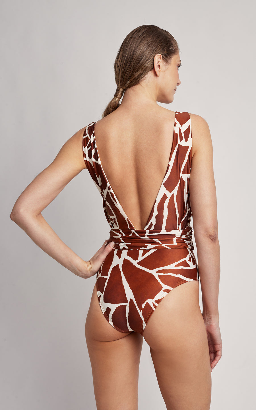Giraffe Cachecouer Ruched One Piece Swimsuit