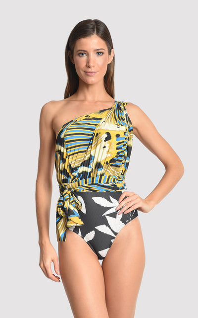 Panapana Greek One Shoulder One Piece Swimsuit