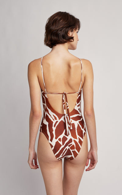 Giraffe Embellished High Neck One Piece Swimsuit