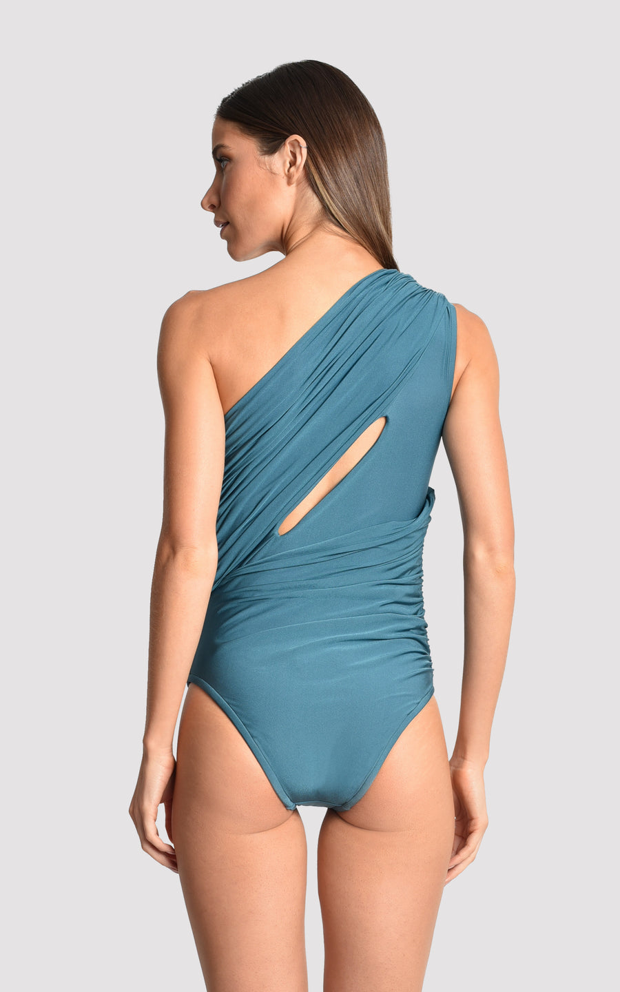 Agate Slit Asymmetrical Runway One Piece Swimsuit
