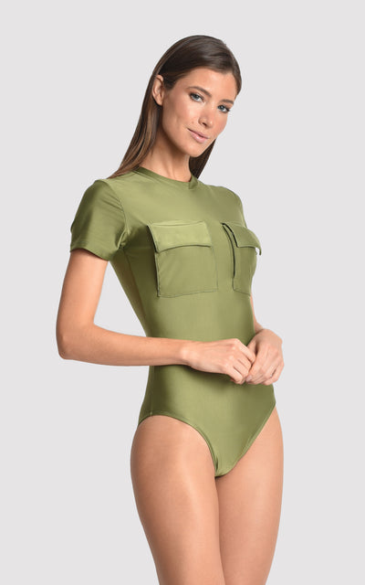 Green Moss Utility Runway One Piece Swimsuit