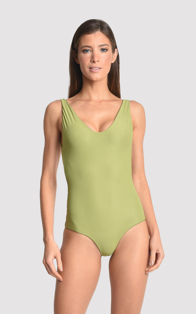 Green Moss Basic V Runway One Piece Swimsuit