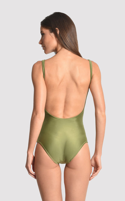 Green Moss Basic V Runway One Piece