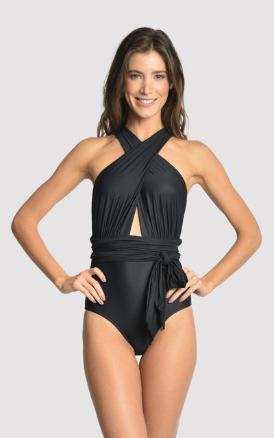 Black Chic Halter One-Piece Swimsuit V19