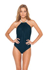 Blue Stone Bone Necklace One Piece Swimsuit