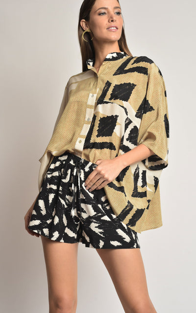 STRAW SILK TUNIC AND SHORT