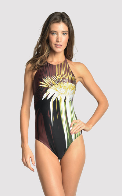 Passion Flower Halter Straps One Piece Swimsuit