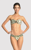 Cheetah Bikini Drop Bandeau Top and Draped Bottom