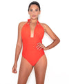 Guara Ruched Halter One Piece Swimsuit