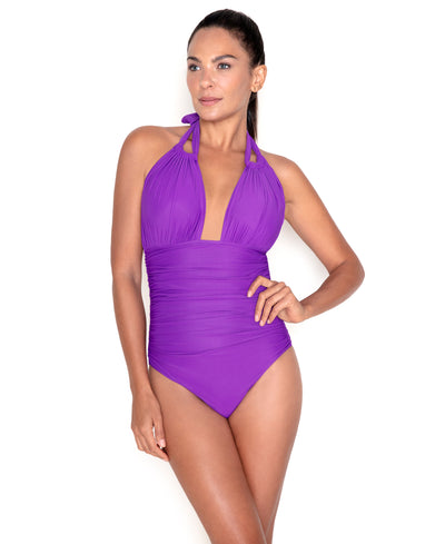 Amethyst Ruched Halter One Piece Swimsuit