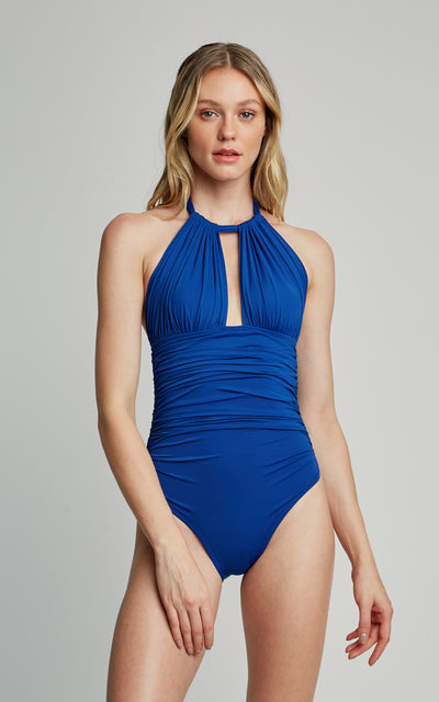 Royal Blue Ruched Halter One Piece Swimsuit (SUSTAINABLE COLLECTION)