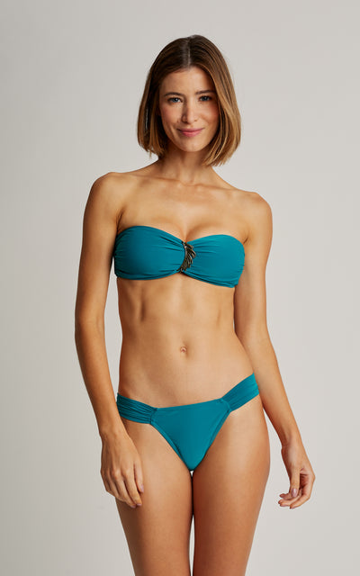 Jade Embellished Bandeau Top and Draped Bottom