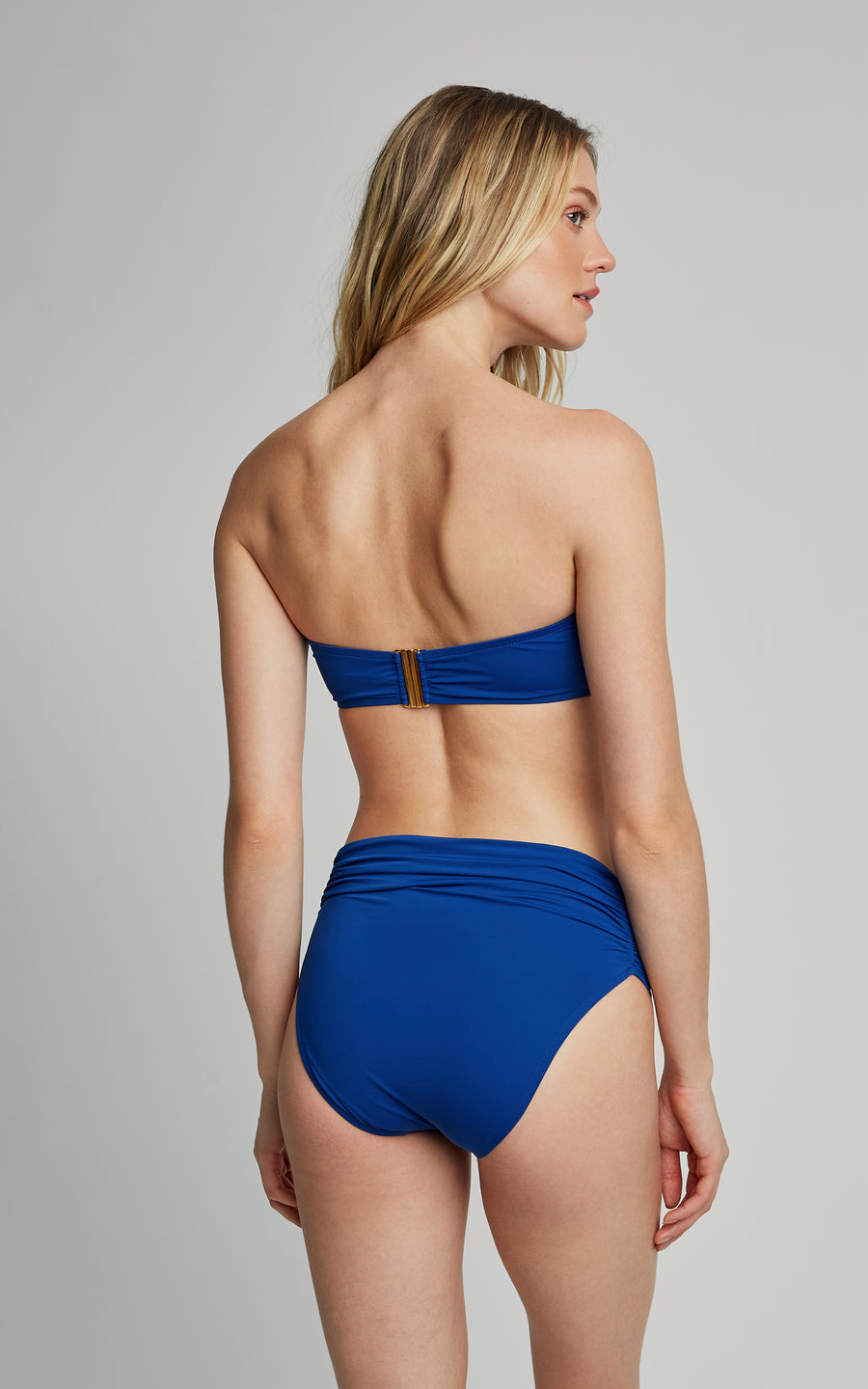 Royal Blue Drop Bandeau Top and High Waist Bottom