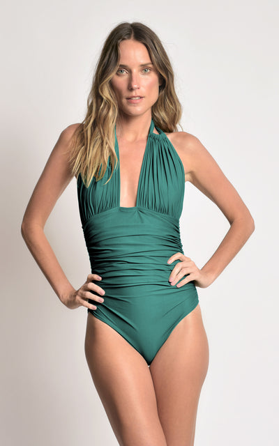 Capri Ruched Halter One Piece Swimsuit