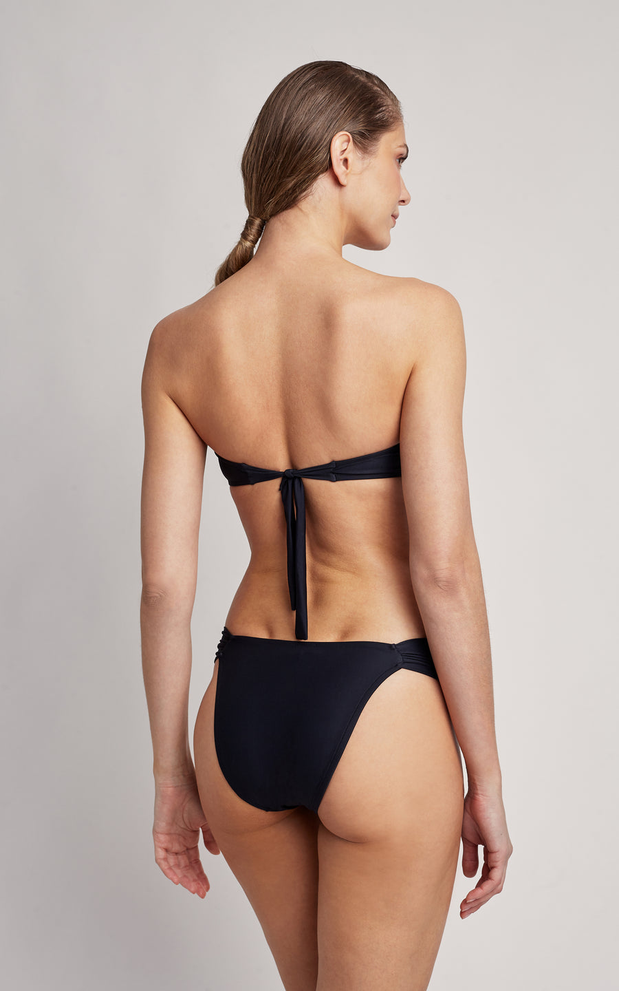 Black Bikini Embellished Bandeau Top and Draped Bottom