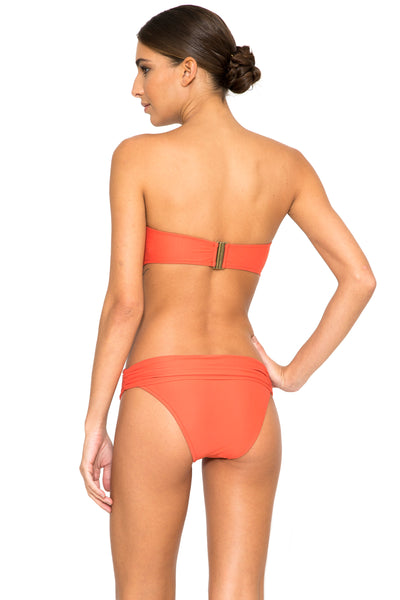 Pome Draped Bandeau top and High Waist Bikini Bottom