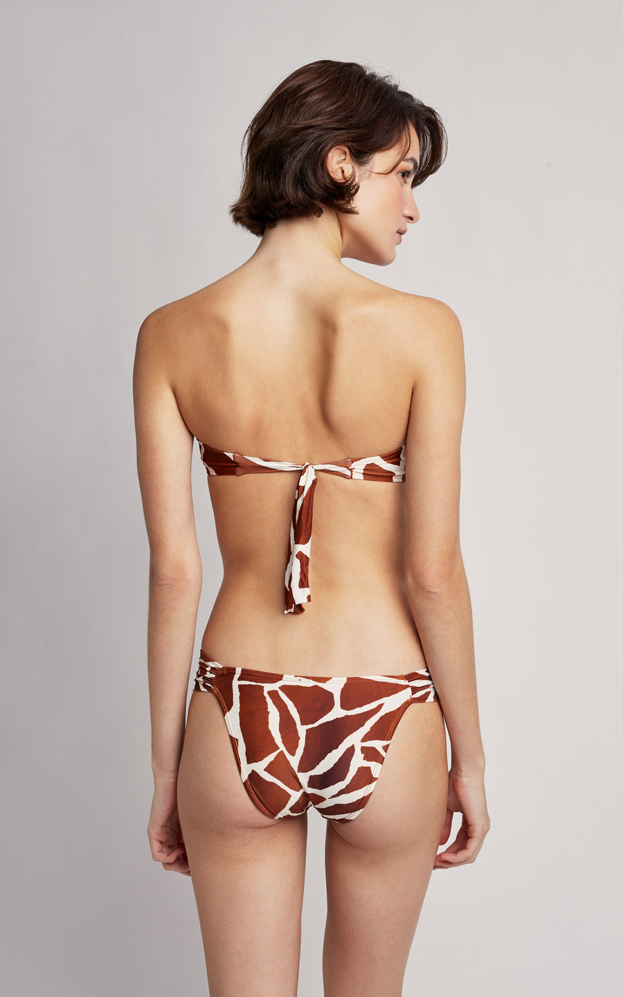 Giraffe Bikini Embellished Bandeau Top and Draped Bottom