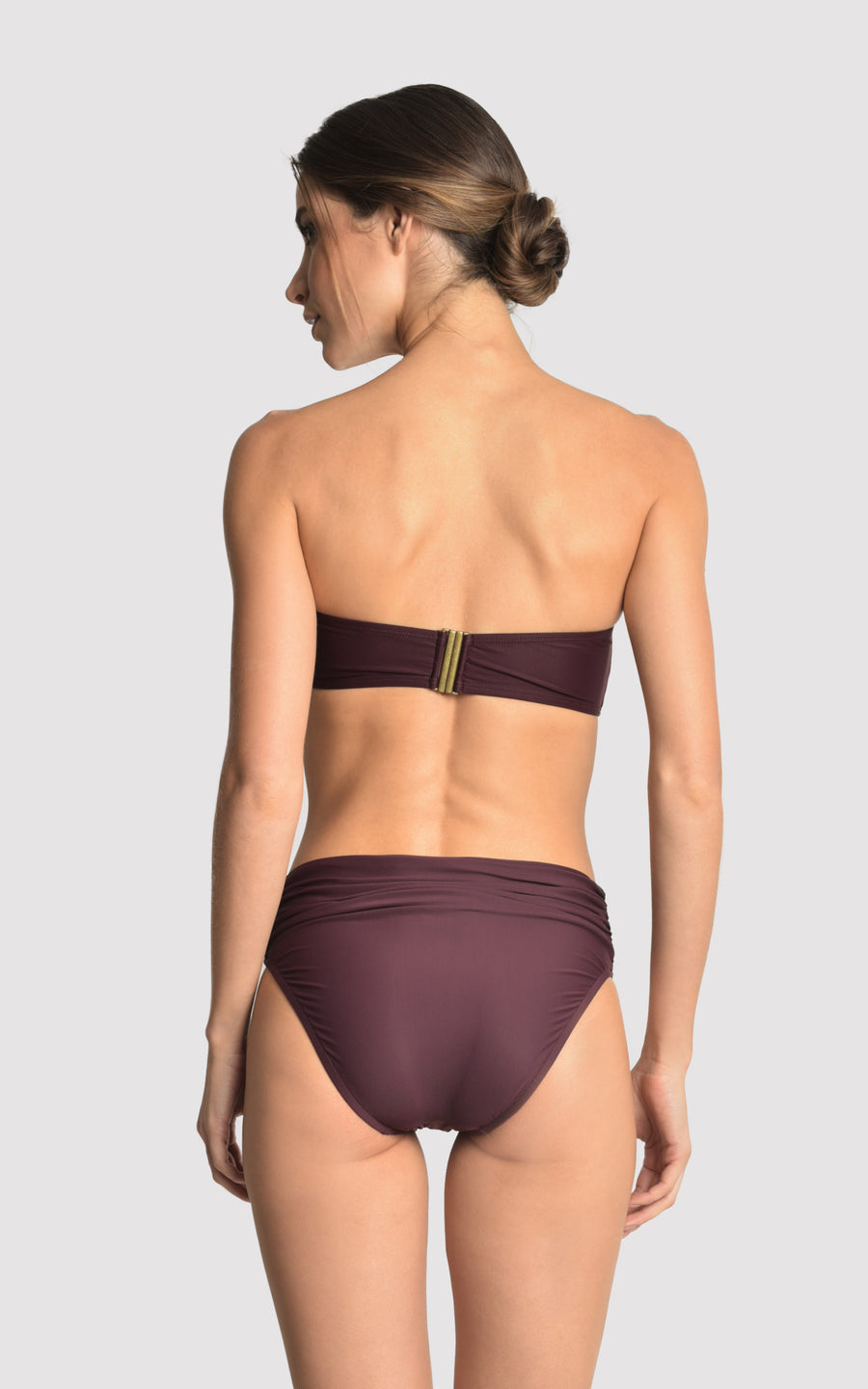 Eggplant Bikini Drop Bandeau Top and High Waist Bottom