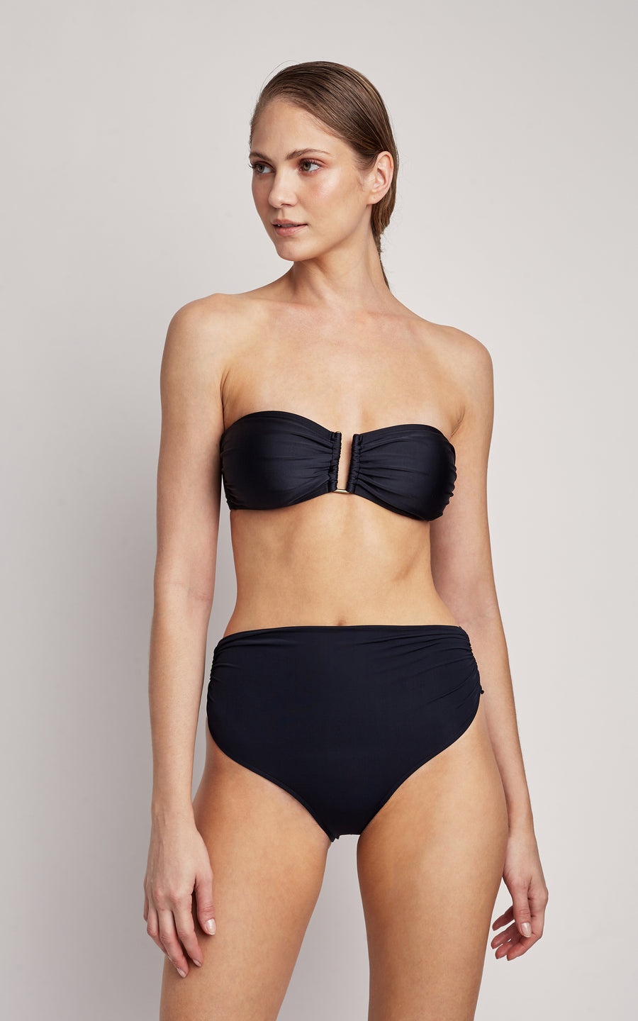 Black Top drop Bandeau and High Waist Bottom