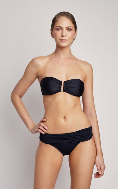 Black Drop Bandeau Top and High Waist Bottom Bikini Set