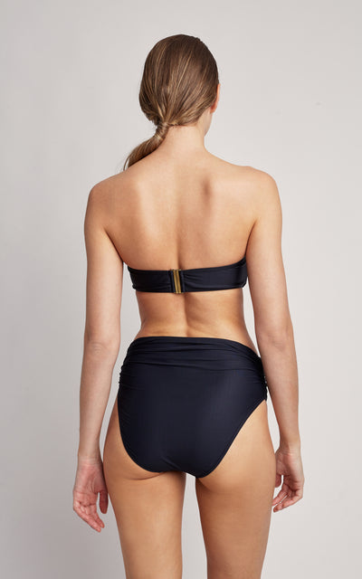 Black Bikini Drop Bandeau Top and High Waist Bottom