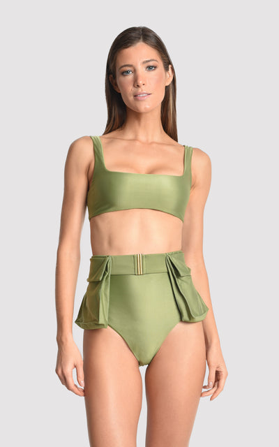 Green Moss Square Neck Runway Top and High Waist Runway Bottom