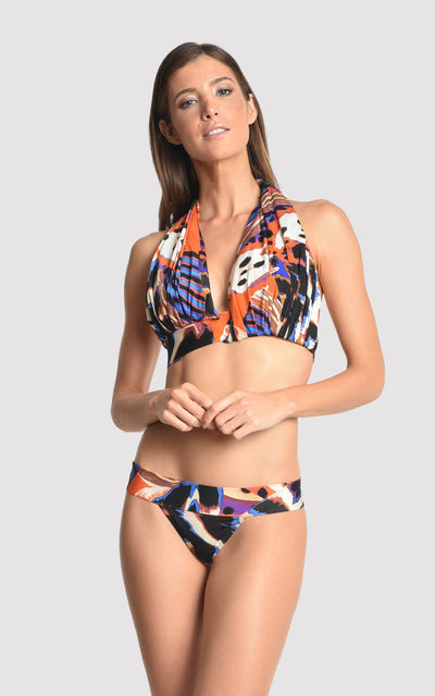 Orange Panapana Bikini Draped Halter Runway Top and Basic Waist Bottom