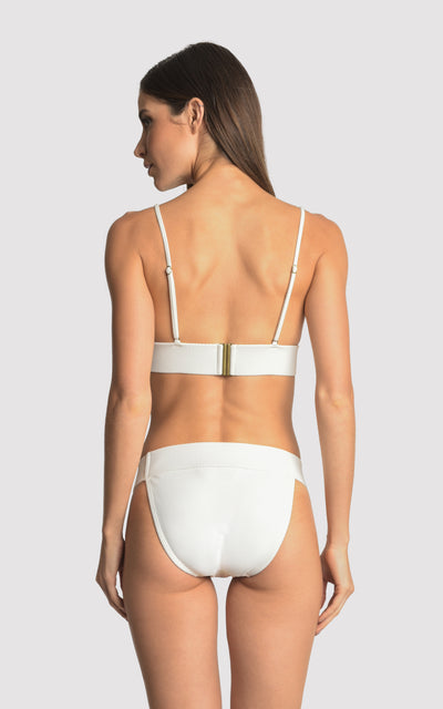 Off White Piquet  Bikini Fixed Triangle Top and Waistband Bottom