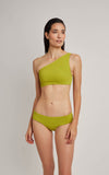 LIME ONE SHOULDER TEXTURED BIKINI TOP & SURF PANT BIKINI BOTTOM