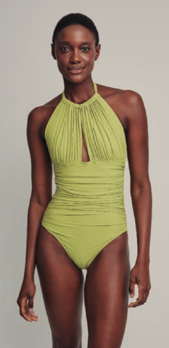 Lime Ruched Halter One Piece Swimsuit (Sustainable Collection)