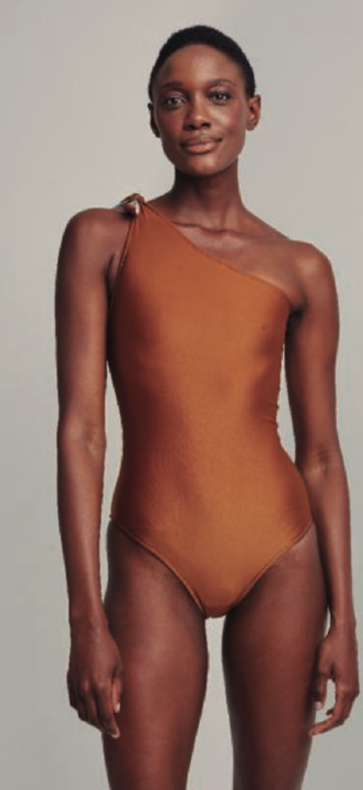 BREEZE / COPPER DOUBLE TOPSTITC ONE SHOULDER ONE PIECE SWIMSUIT