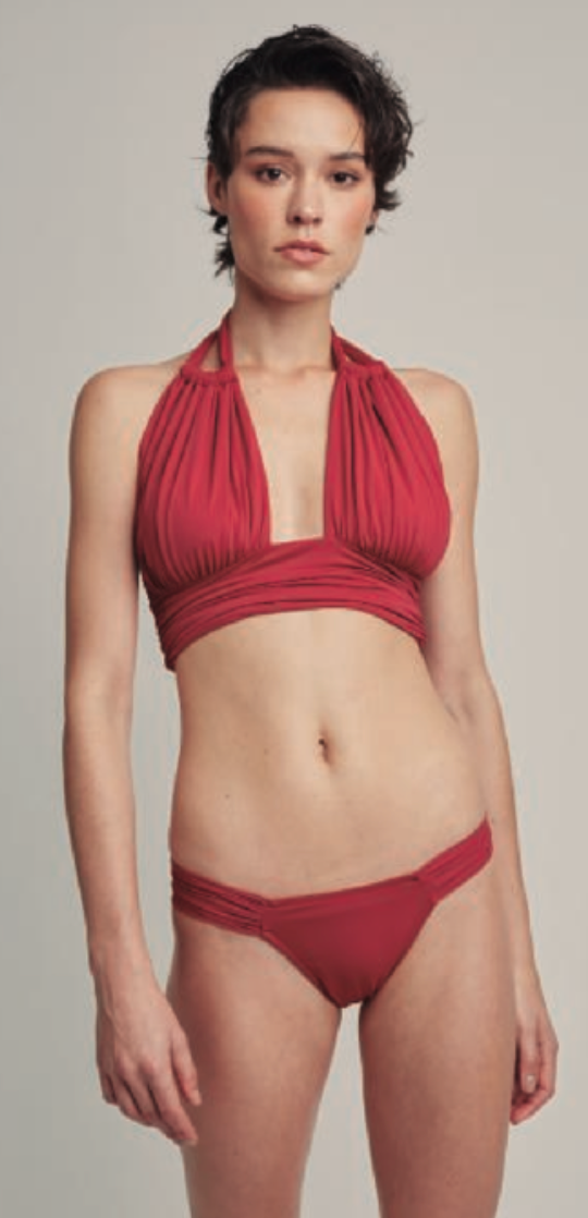 Bordeaux Ruched Halter Bikini Top and Draped Bottom (Sustainable Collection)