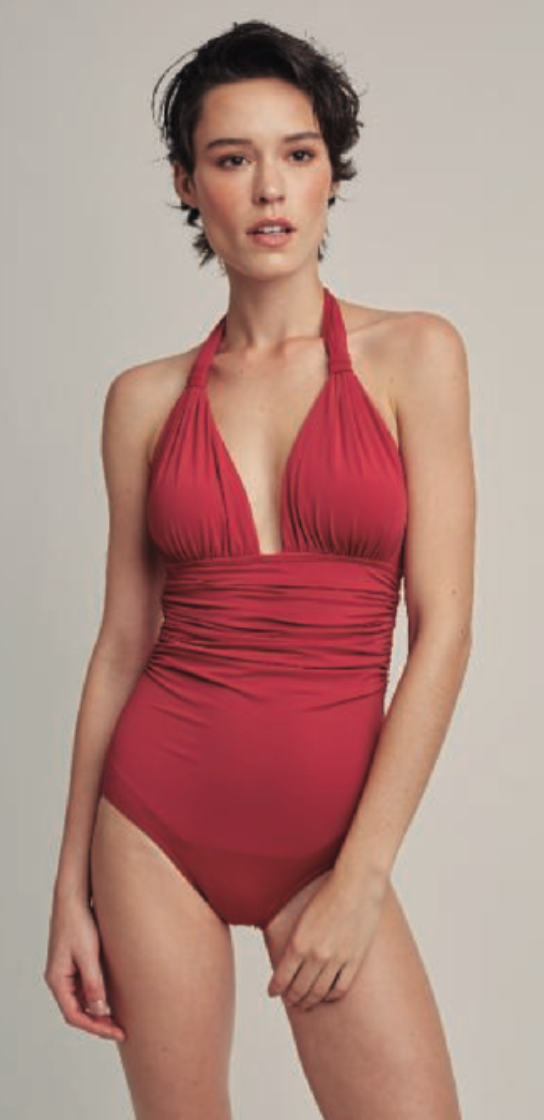 Bordeaux Adjustable Halter One Piece Swimsuit (Sustainable Collection)