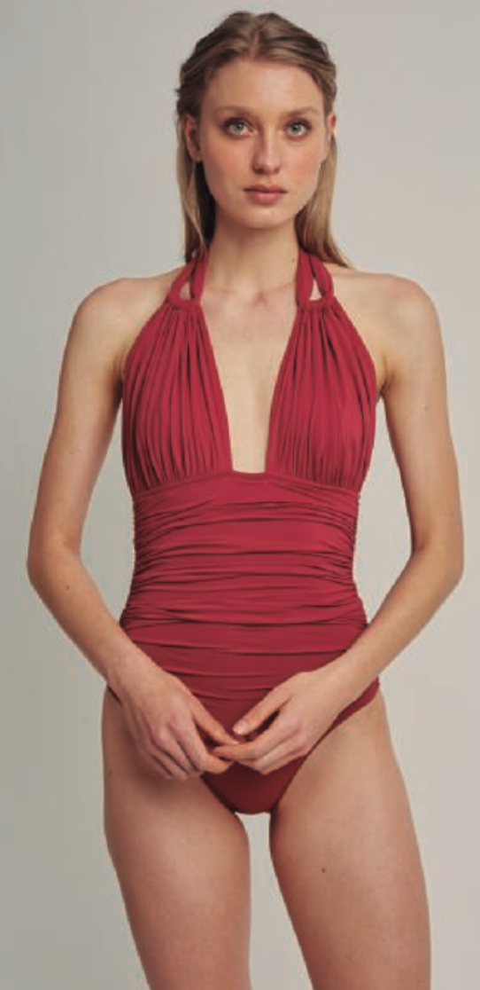 Bordeaux Ruched Halter One Piece Swimsuit ( Sustainable Collection)
