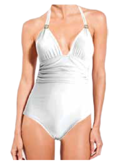 White One-Piece Adjustable Halter Swimsuit (Final Sale)