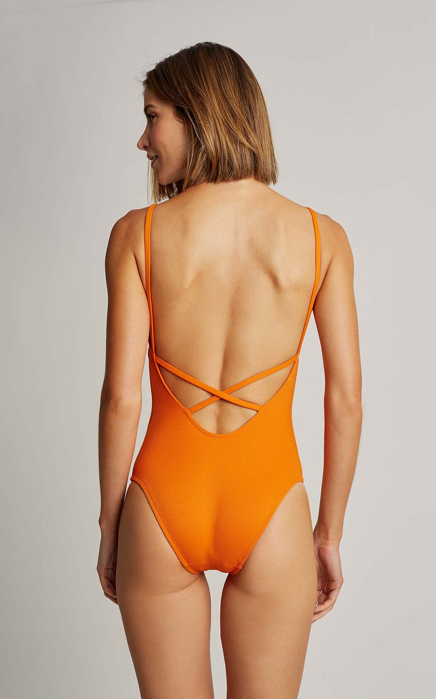 Tangerine Basic V One Piece Swimsuit