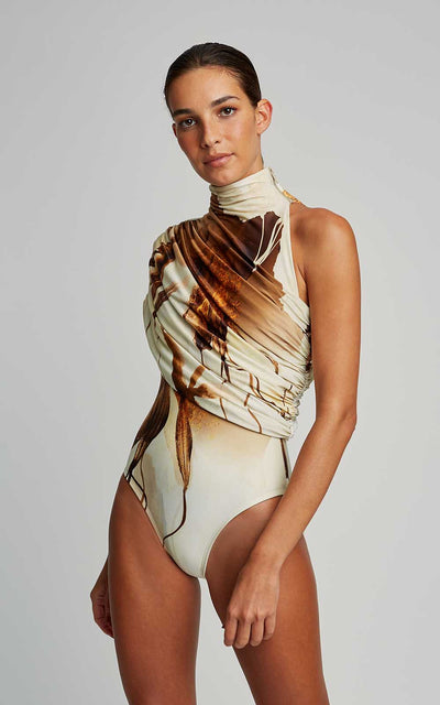 Caramel Watercolor Draped Collar Runway One Piece Swimsuit
