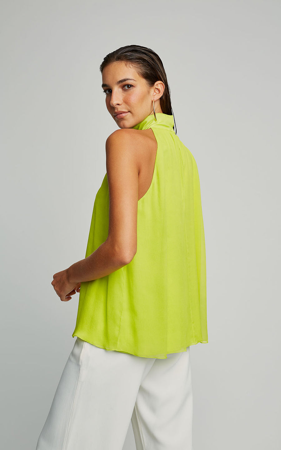 Neon High Neck Silk Runway Tank Top