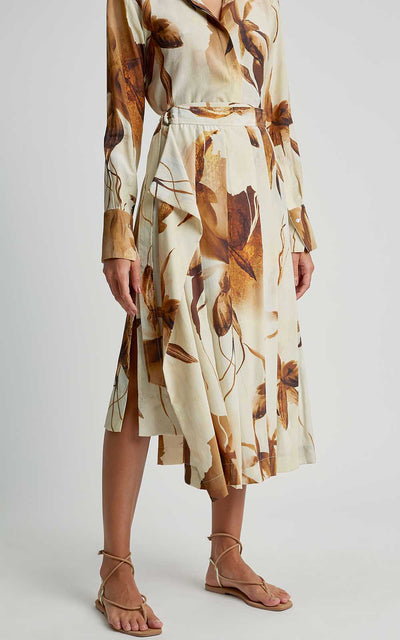 Caramel Watercolor Premium Pleated Sarong Skirt
