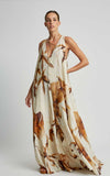 Caramel Watercolor Pleated Gore Runway Dress