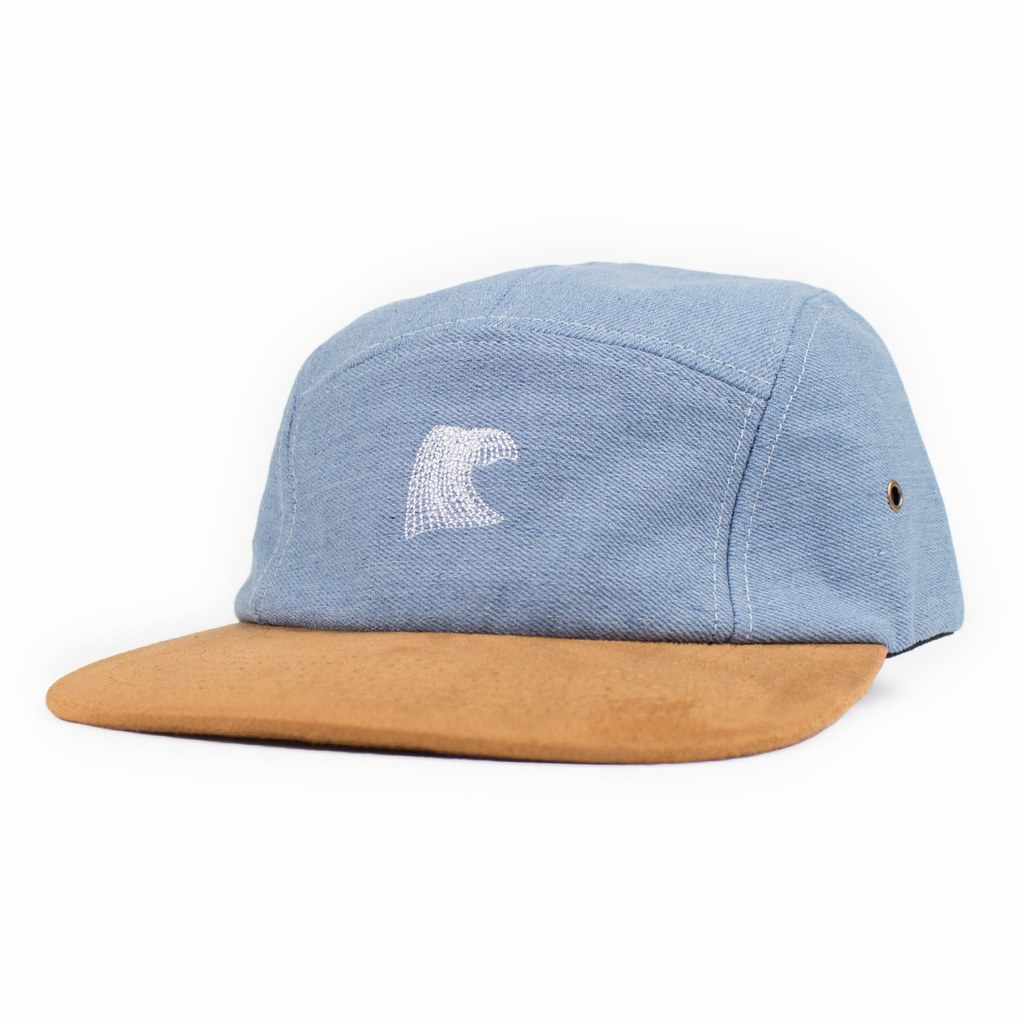 DIGITAL WAVE 5-PANEL CAMP HAT, DENIM SUEDE