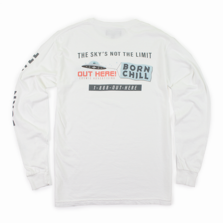OUT HERE! COSMIC ADVERTISING LONG SLEEVE, WHITE