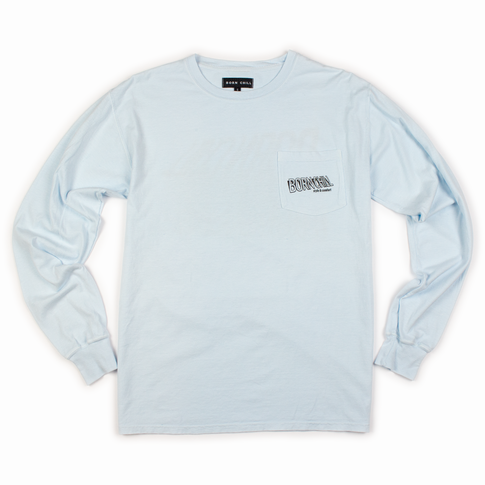 Lifted Long Sleeve with Pocket, Garment-Dyed - Baby Blue