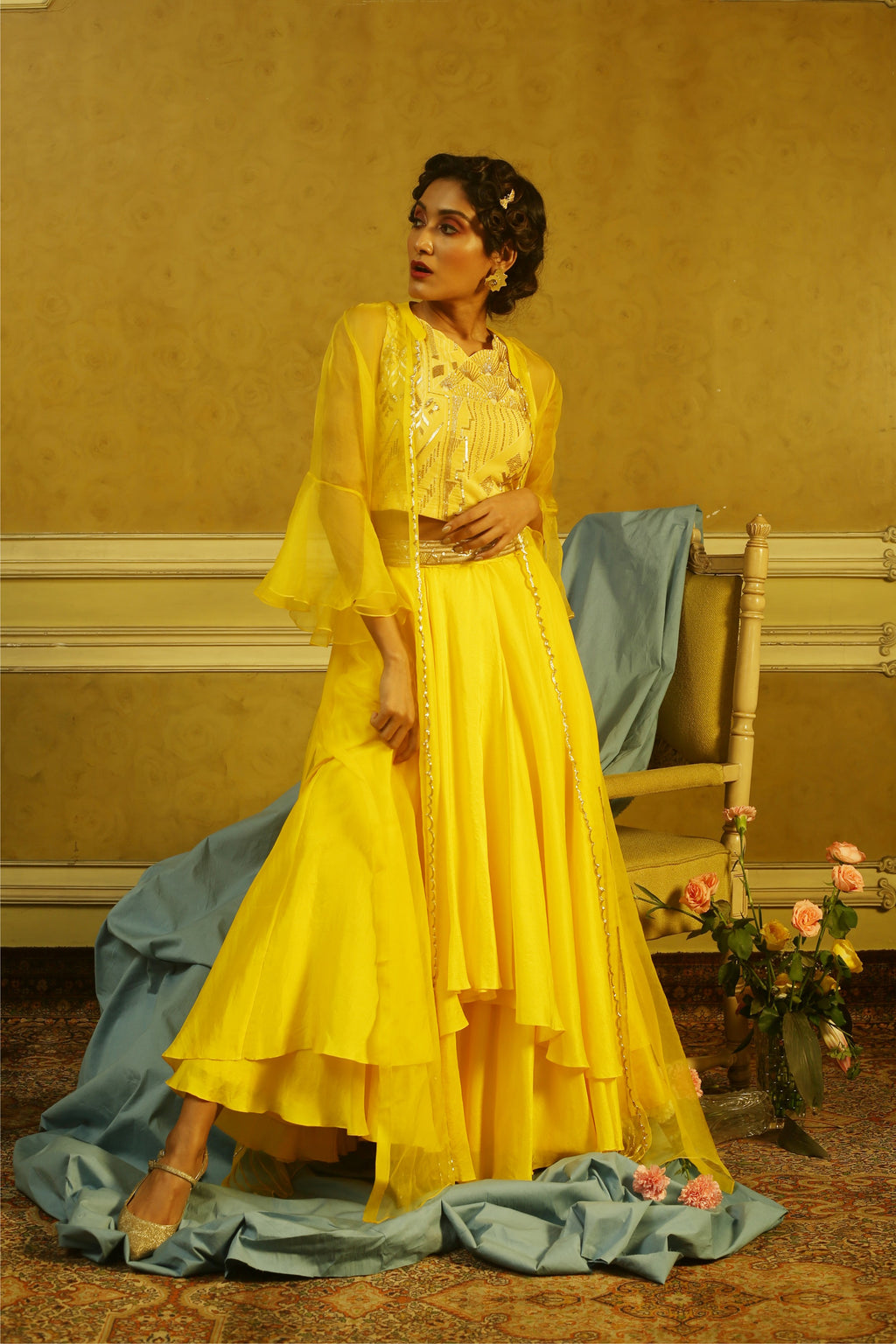 Yellow Beaded Top with Layered Skirt & Embroidered Organza Jacket.
