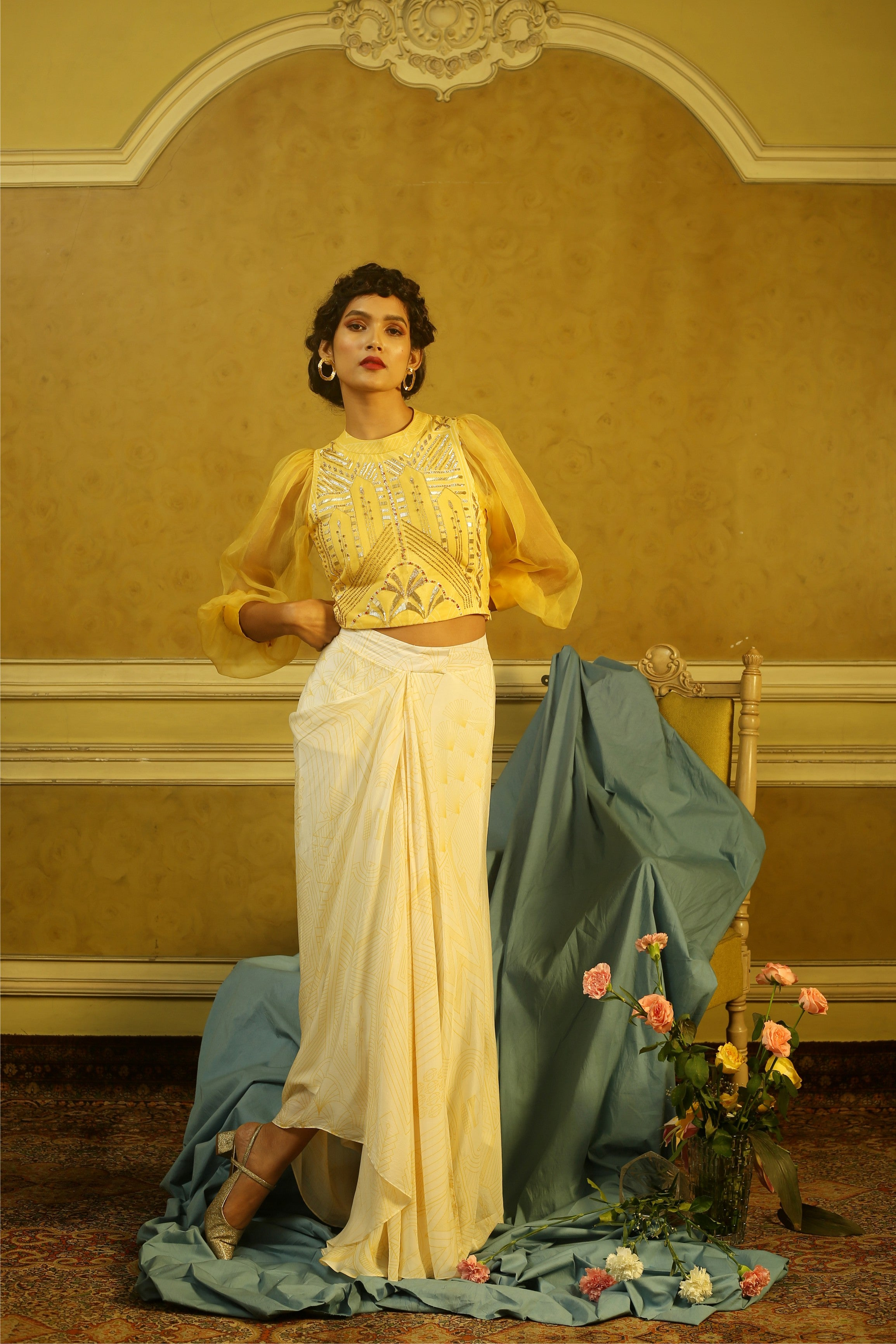 Yellow Embroidered Puff Sleeves Top & Off-White Drape Skirt
