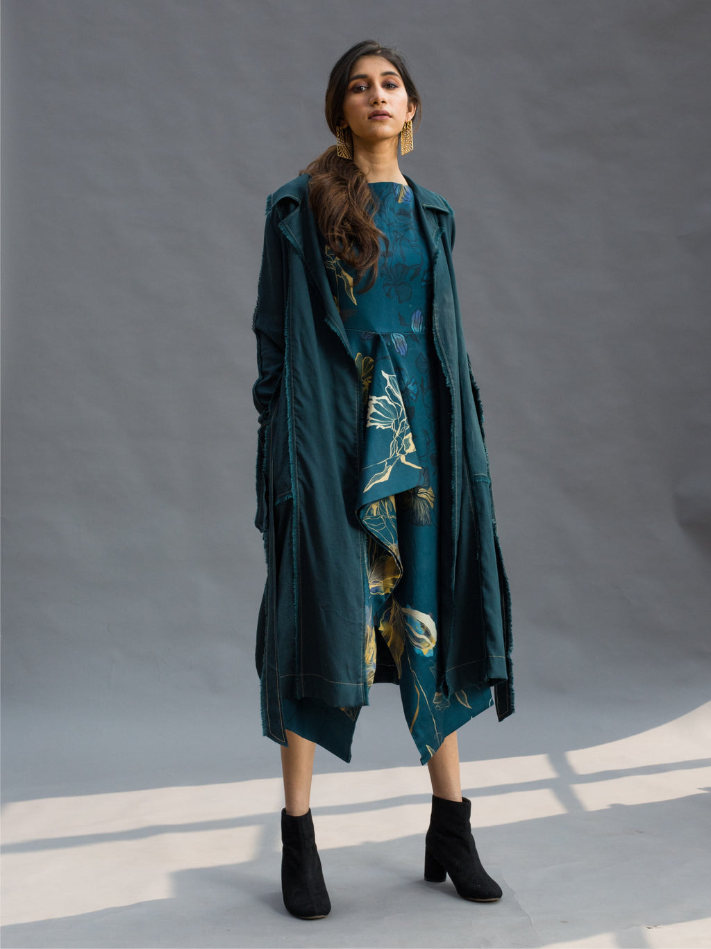 Teal Frayed Trenchcoat