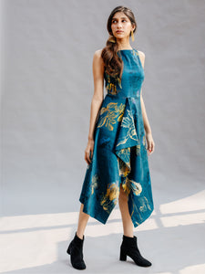 Teal Watercolour Boat Neck Dress